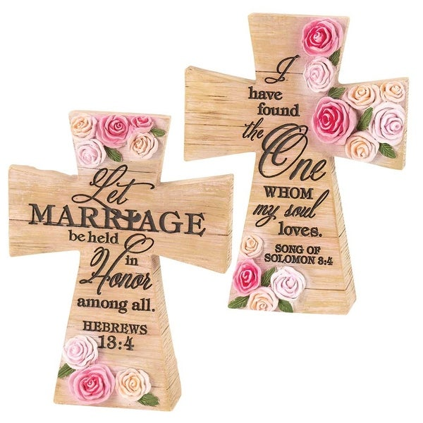 """Let Marriage Be Honored 5"""" x 3"""" Woodgrain Tabletop Resin Cross with Scriptures from Hebrews 13:4 and Song of Solomon 8:4"""