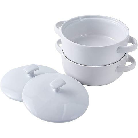 Bruntmor Bake & Serve Ceramic Soup Bowls With Handles and lids - 20 Ounce Set of 2, for soups, stews, cereal