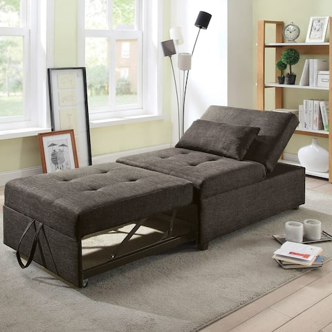 Furniture of America Jave Modern Linen Fabric Convertible Futon Chair