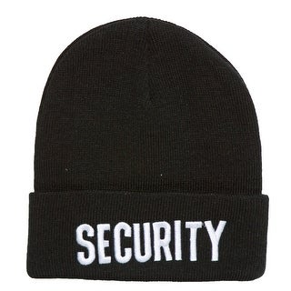 Black Cuff Security Knitted Beanie