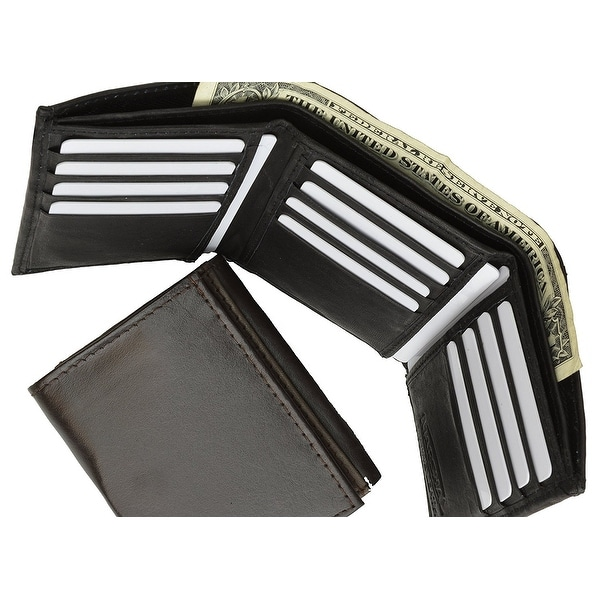 Leather Marshal Tri-fold Mens Wallet Black #553