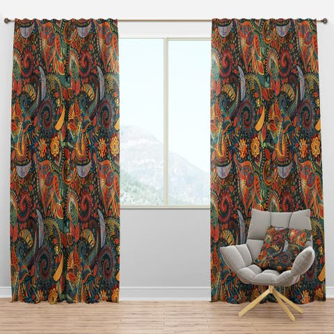 Designart 'Paisley Floral Pattern' Bohemian & Eclectic Blackout Curtain Panel
