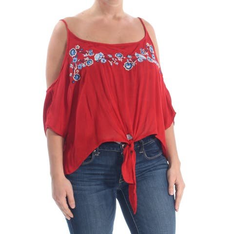POLLY & ESTHER Womens Red Tie Cold Shoulder Floral Scoop Neck Top Size: XL
