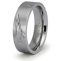 Stainless Steel Ladies Ring w/ Engrave