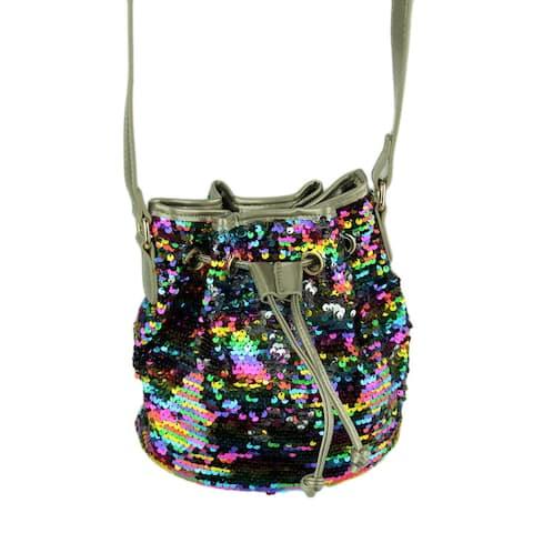 Reversible Sequin Crossbody Cinch Top Bucket Bag