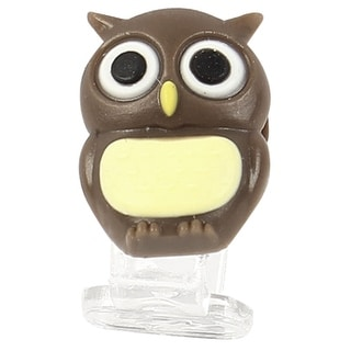 Brown Beige Owl Charge Port Dust Resistant Cap Plug for Cell Phone