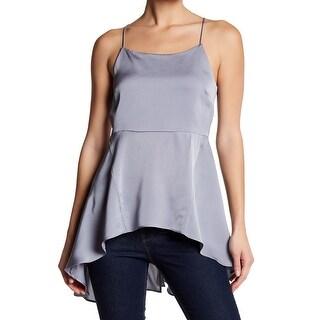 Ro & De Silver Womens Size Large L Hi Low Zip Back Satin Blouse