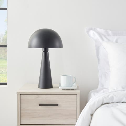 "Nourison 17"" Modern Mushroom Iron Metal Table Lamp"