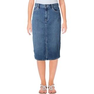 Lauren Ralph Lauren Womens Pencil Skirt Denim Below Knee