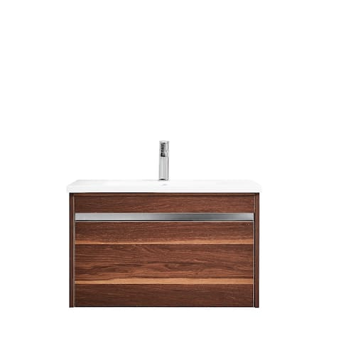 Thomas 30 in. Vanity in Walnut with Acrylic Top in White