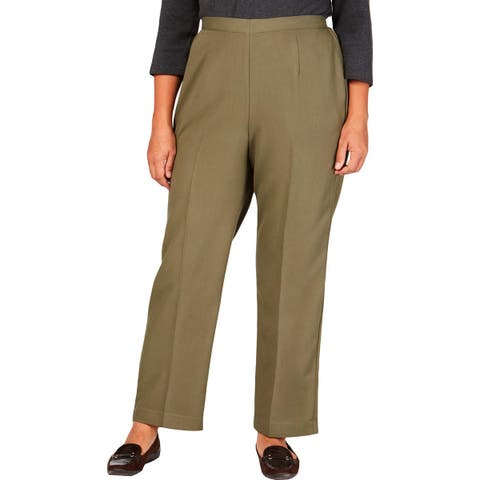 Alfred Dunner Womens Plus Straight Leg Pants Comfort Waist Classic Fit