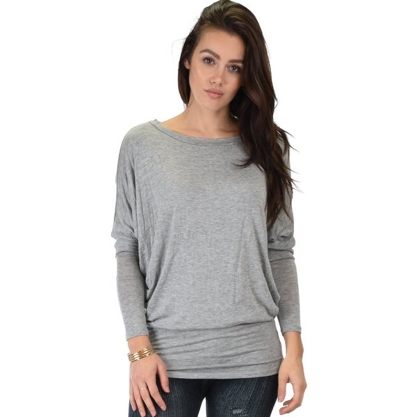49a19f803205f Shop contemporary long sleeve grey dolman tunic top-Grey-X-Large - Free  Shipping On Orders Over  45 - Overstock - 23112678