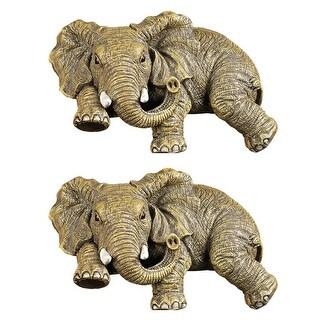 Design Toscano Ernie the Elephant Shelf Sitter Sculpture: Set of Two - Each: 5.5 x 3.5 x 2.5