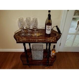 Sorrento Inlaid Wood Inspired Burl Wood Toned Beverage Serving Cart