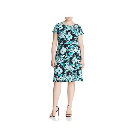 MICHAEL Michael Kors Womens Plus Mini Dress Cap Sleeves Floral Print