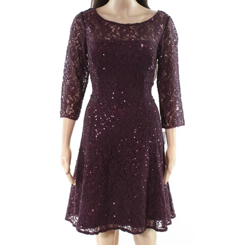 SLNY Women's Floral Lace Sequined A-Line Dress