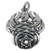 Sterling Silver Pentacle Pendant W/ Tribal Flames