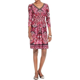 NY Collection Womens Petites Wear to Work Dress Embellished Printed