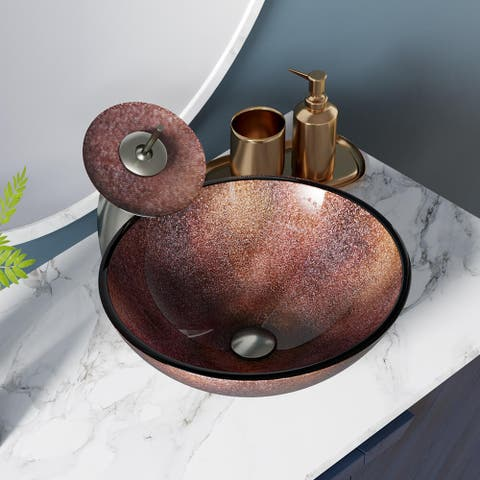 614 Frosted Glass Sink, with Brushed Nickel Faucet, Sink Ring, and Pop-up Drain