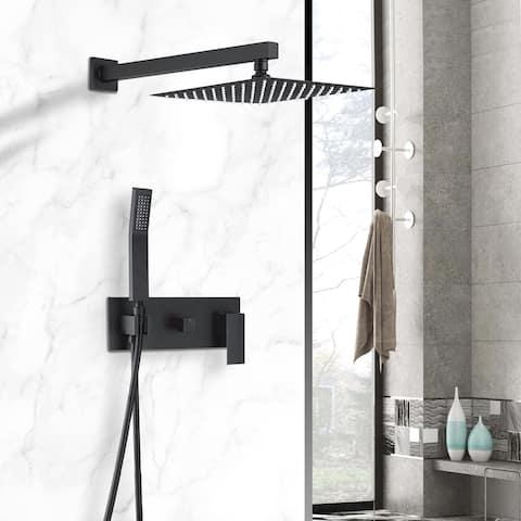 Siavonce Shower Sets Complete Matte Black Shower System - 10*10*15.7inch