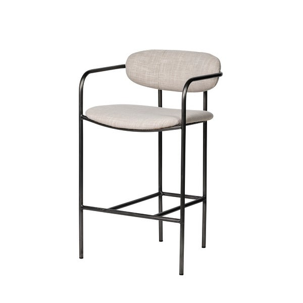 Mercana Parker II Beige Fabric Seat Gun Metal Grey Iron Metal Base Stool - 19.7L x 20.9W x 35.8H. Opens flyout.