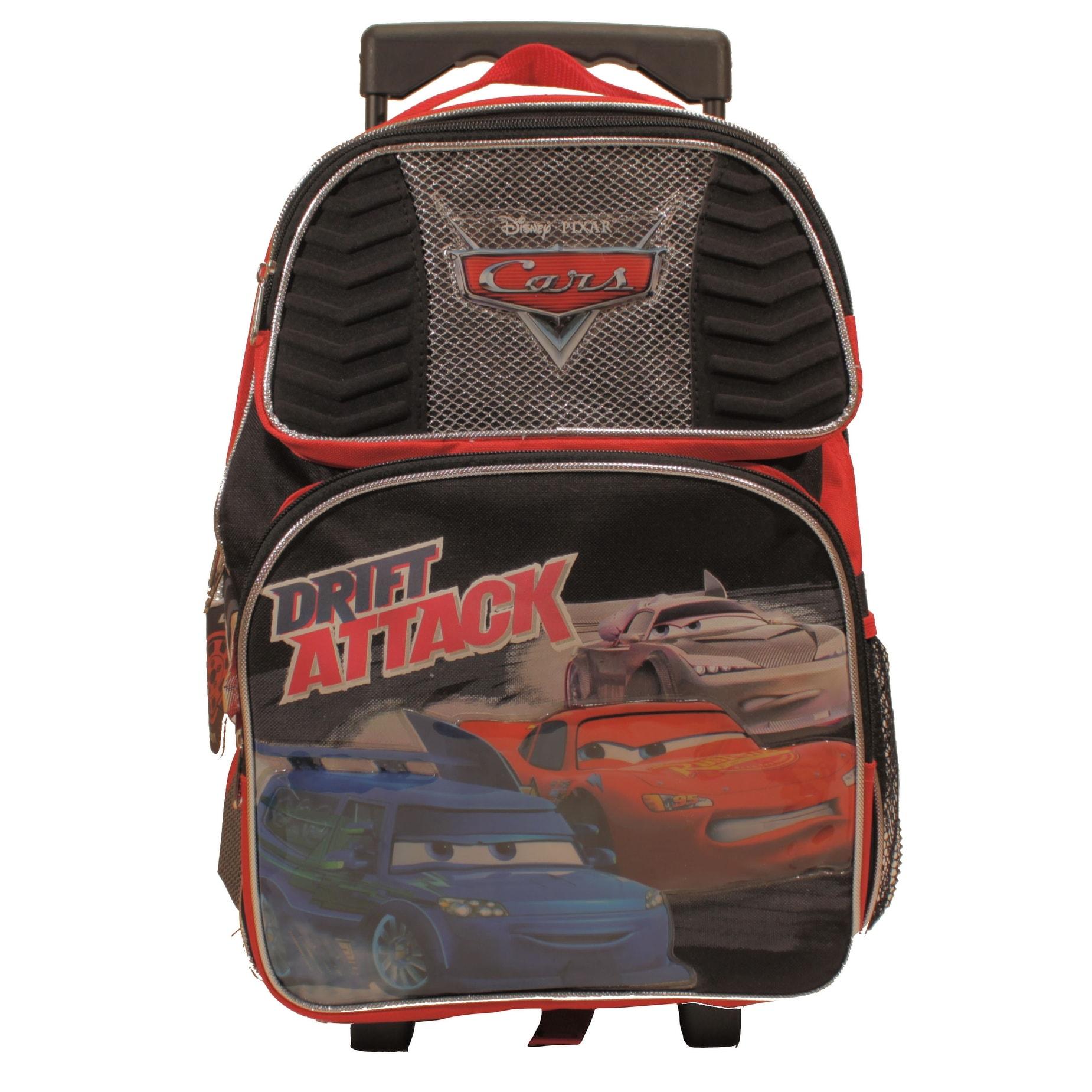 """Disney Cars Blue Rolling Backpack Large School Back Pack Backpack 16/"""" for Kids"""