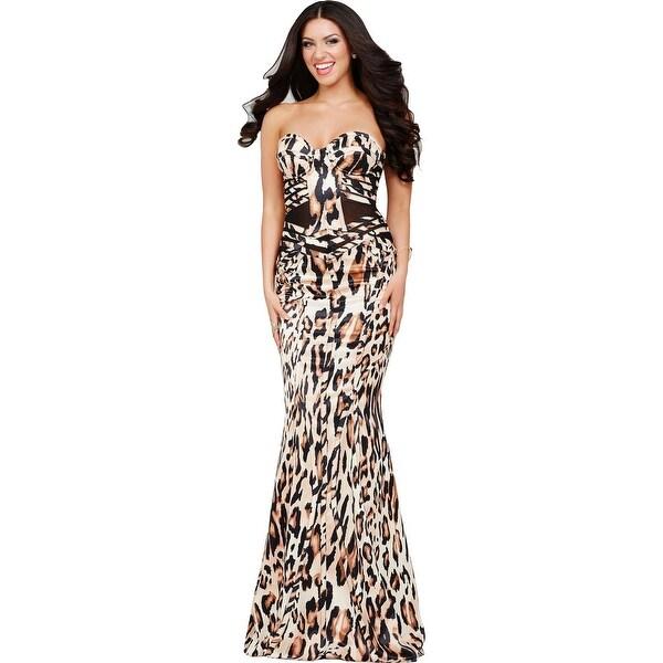 Shop Jovani Animal Print Strapless Formal Dress - Free Shipping ...