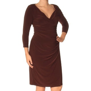 Womens Brown 3/4 Sleeve Knee Length Sheath Wear To Work Dress Size: S