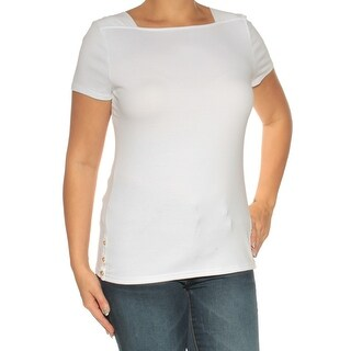 Womens White Short Sleeve Square Neck Top Size L