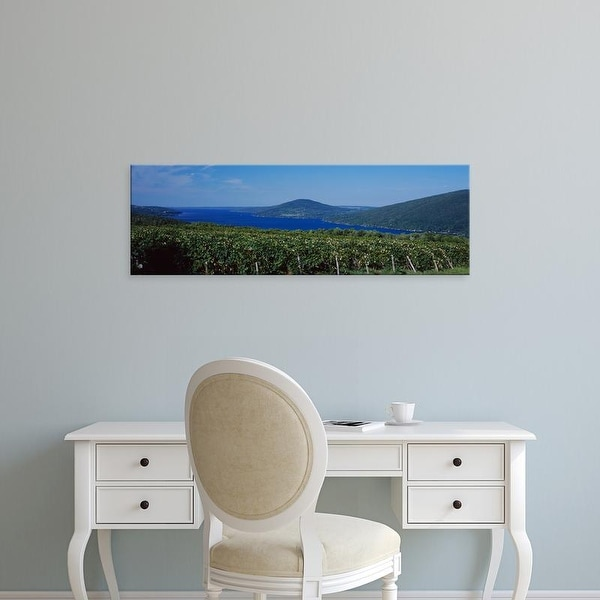 Easy Art Prints Panoramic Image 'Vineyards Near A Lake, Canandaigua Lake, Finger Lakes, New York, USA' Canvas Art