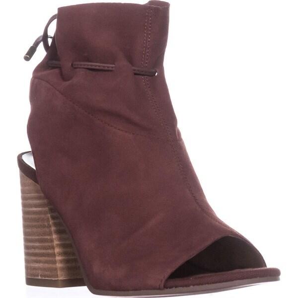 Franco Sarto Fenwick Peep-Toe Ankle Boots, Mahagony Suede - 7 us / 37 eu