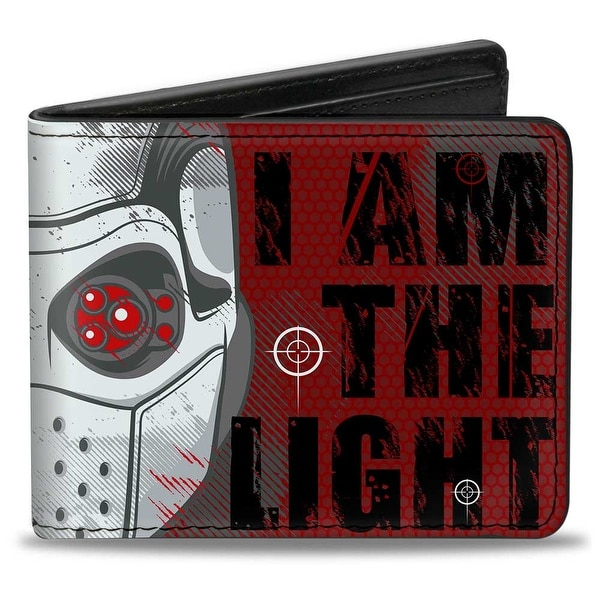Deadshot Face Close Up I Am The Light + The Way Logo Targets Reds Black Bi-Fold Wallet - One Size Fits most