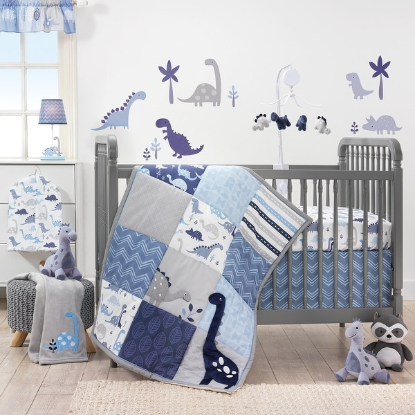 Shop Bedtime Originals Roar Blue Gray White Dinosaur 3