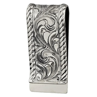 "Vogt Western Mens Money Clip Embossed Engraved Sterling Silver 021-007 - 1"" x 2 1/4"""