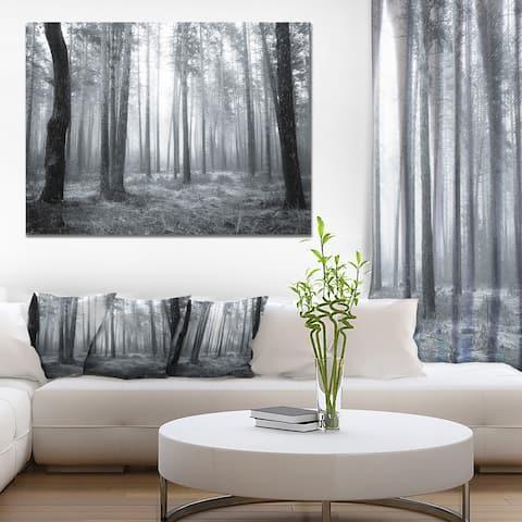 Designart 'Black and White Foggy Forest' Modern Forest Canvas Wall Artwork Print