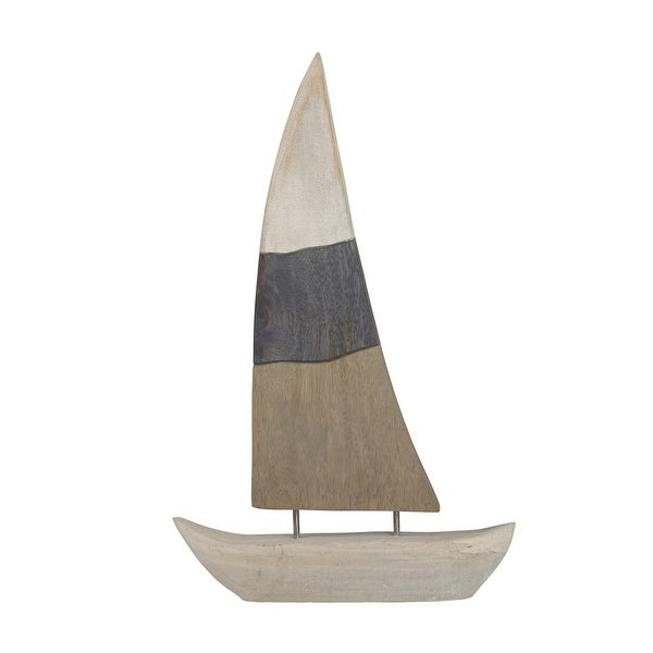 Nautical Charmed Mango Wood Sailboat Decor with Left Side Mainsail, Multicolor
