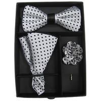 Men's Black & Grey Polka Dot Bow Tie with matching Hanky and Lapel Flower - One size