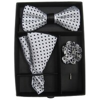 eb586cfcead2 Men's Black & Grey Polka Dot Bow Tie with matching Hanky and Lapel Flower -  One