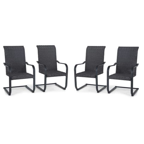Sophia & William Patio Dining Chairs, 4 C-Spring Rattan Chairs