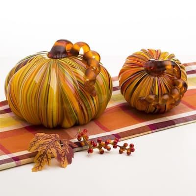 Glitzhome Multi Striped Handblown Glass Pumpkins