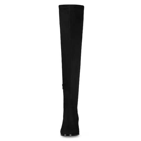 Women's Rounded Toe Chunky Heel Over The Knee High Boots
