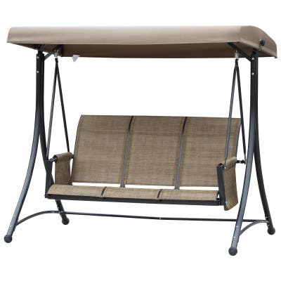 Outsunny 3-Person Steel Outdoor Patio Porch Swing Chair