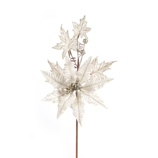 "Club Pack of 12 Artificial Glittered Snowy White Christmas Poinsettia Sprays 28"" - GOLD"