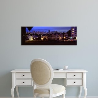 Easy Art Prints Panoramic Images's 'Buildings Lit Up Dusk, Alamo Square, San Francisco, California, USA' Canvas Art