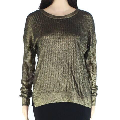Michael Kors Women's Sweater Black Gold Size Large L Pullover Knit
