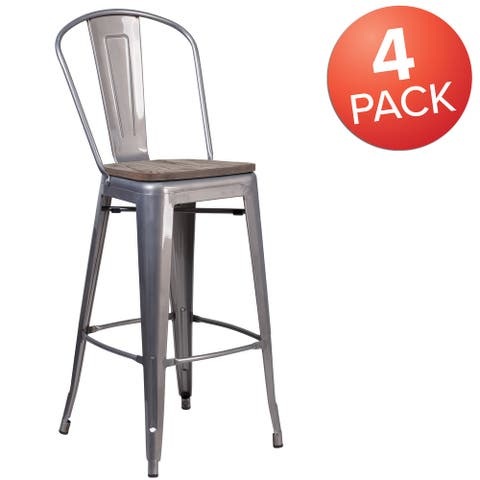 """4Pk 30"""" High Clear Coated Barstool with Back and Wood Seat - 17.75""""W x 22.5""""D x 46.5""""H"""