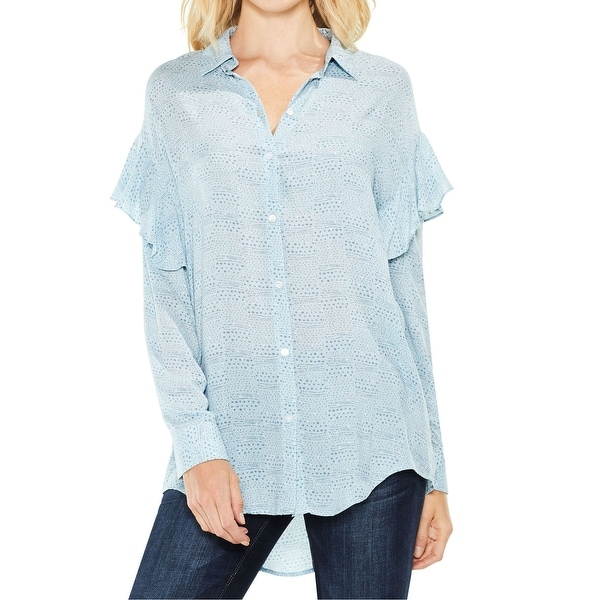 85a2b27c Shop Vince Camuto Blue Printed Ruffled Womens Small S Button Up ...