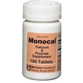 Monocal Calcium And Fluoride Mineral Supplements 100 ea