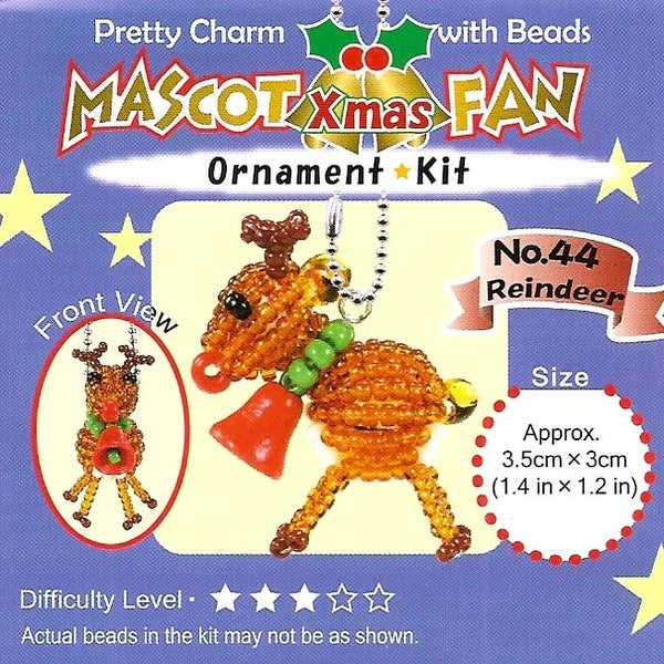 Create Your Own Miyuki Mascot Reindeer Bead Charm Christmas Ornament Kit -