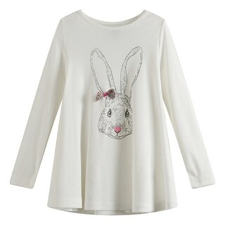 Richie House Girls White Rabbit Print Floral Bow Flared Top 7-8